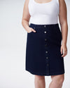 Ang Denim Button Down Skirt - Dark Indigo Image Thumbnmail #5