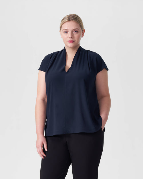 Cambria Luxe Twill Top - Navy