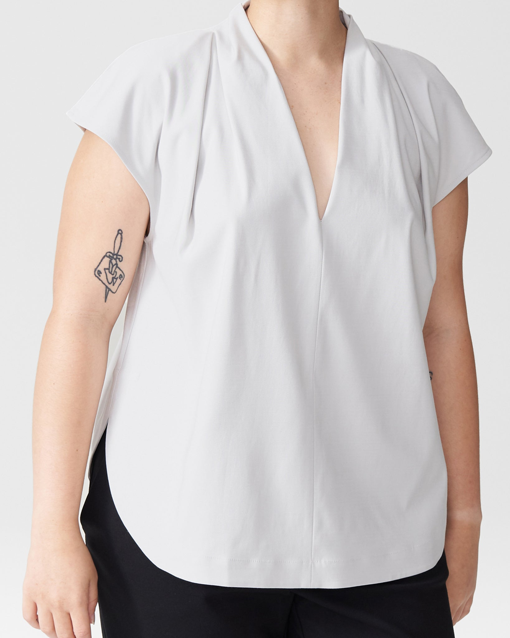 Petite Cambria Luxe Twill Top - Dove Grey