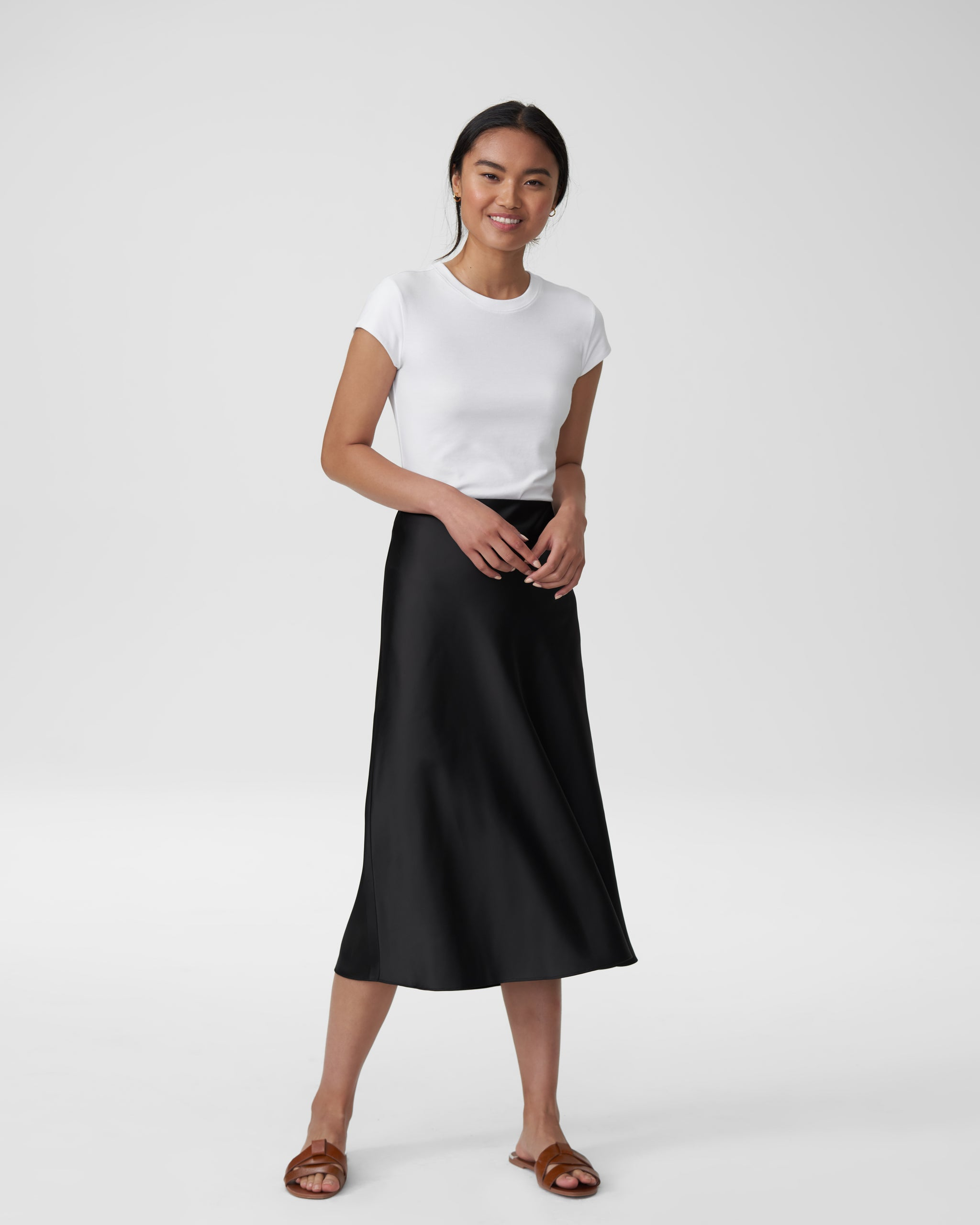 CeeCee Midi Bias Skirt - Black