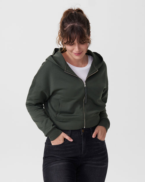 Perry Spacer Cropped Hoodie - Moss