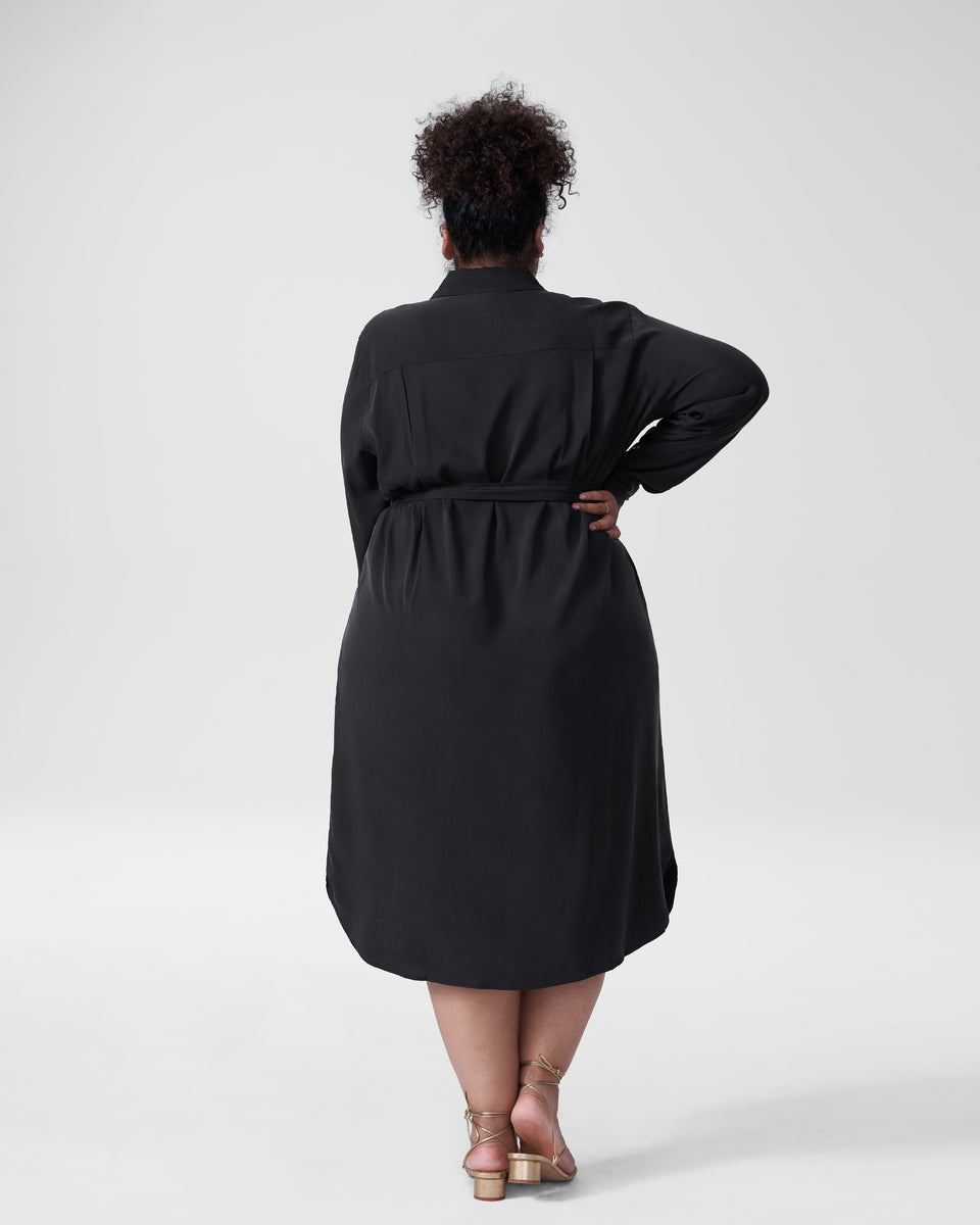 Michelle Cupro Shirt Dress - Black