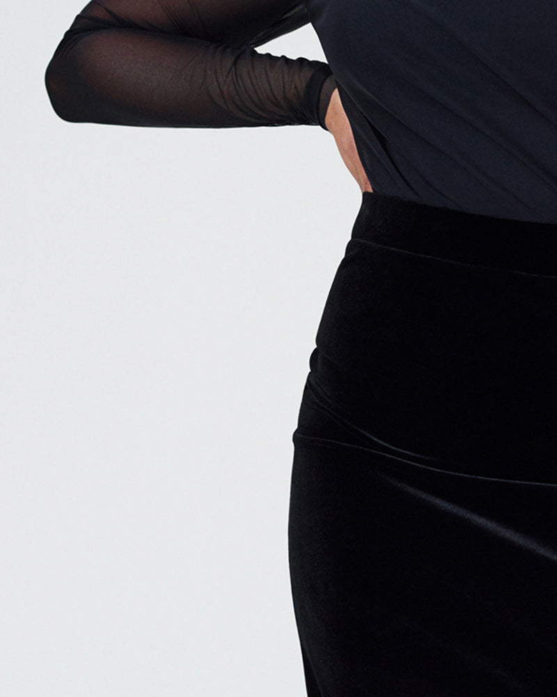 Danube Velvet Pencil Skirt - Black