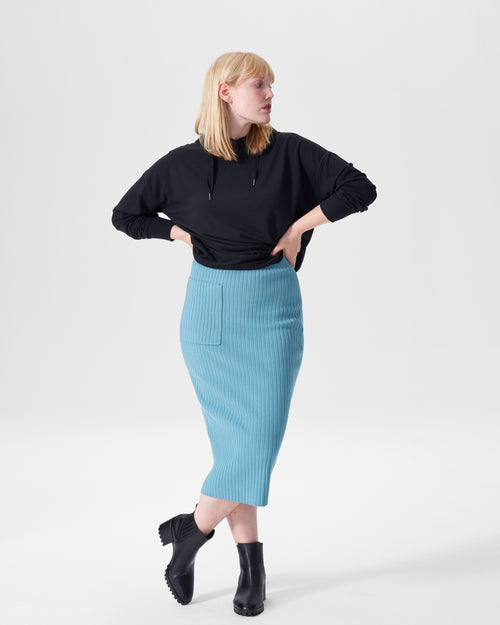 Ana Ribbed Sweater Skirt With Pocket - Powder Blue