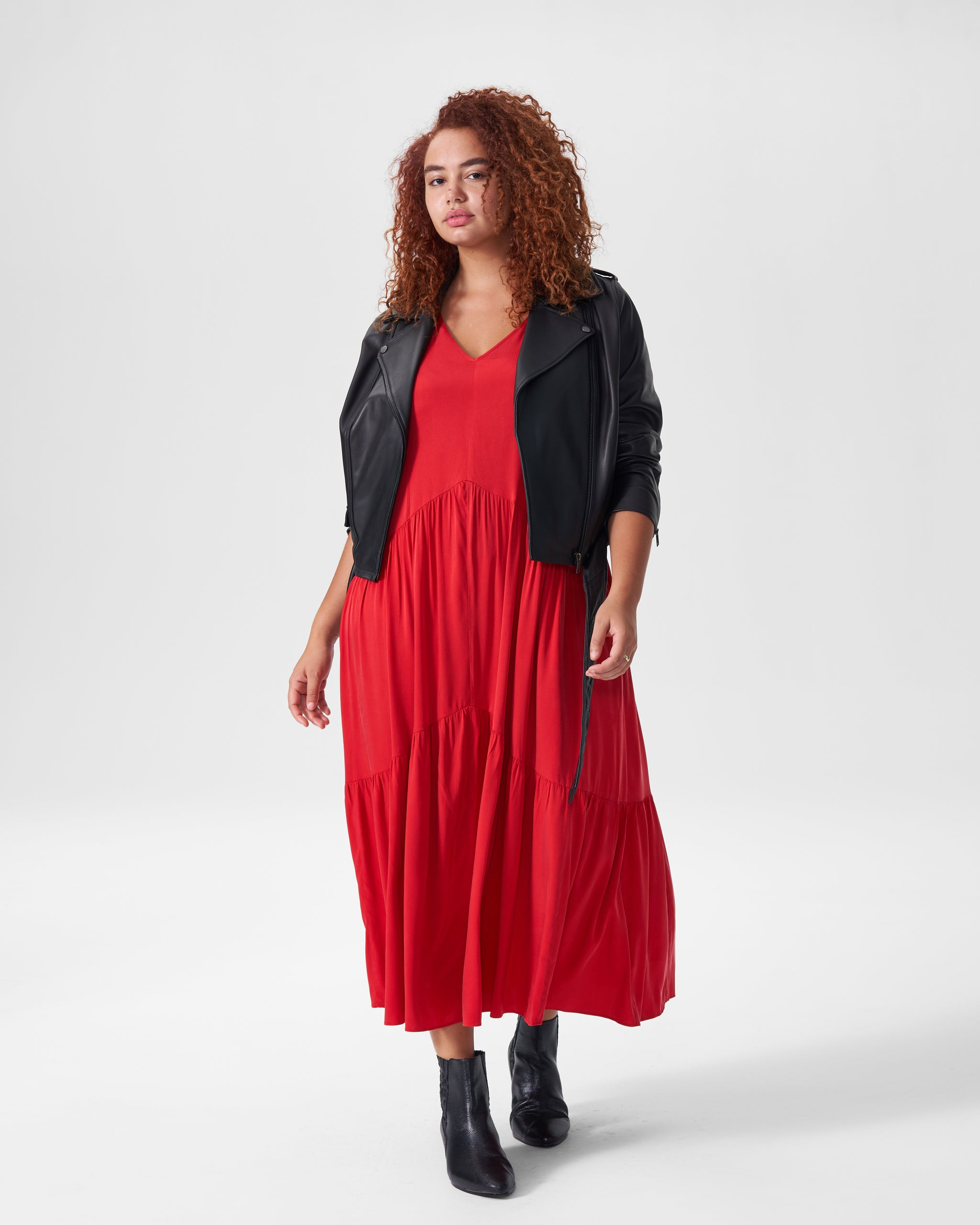 Emily Cupro Maxi Dress - Red