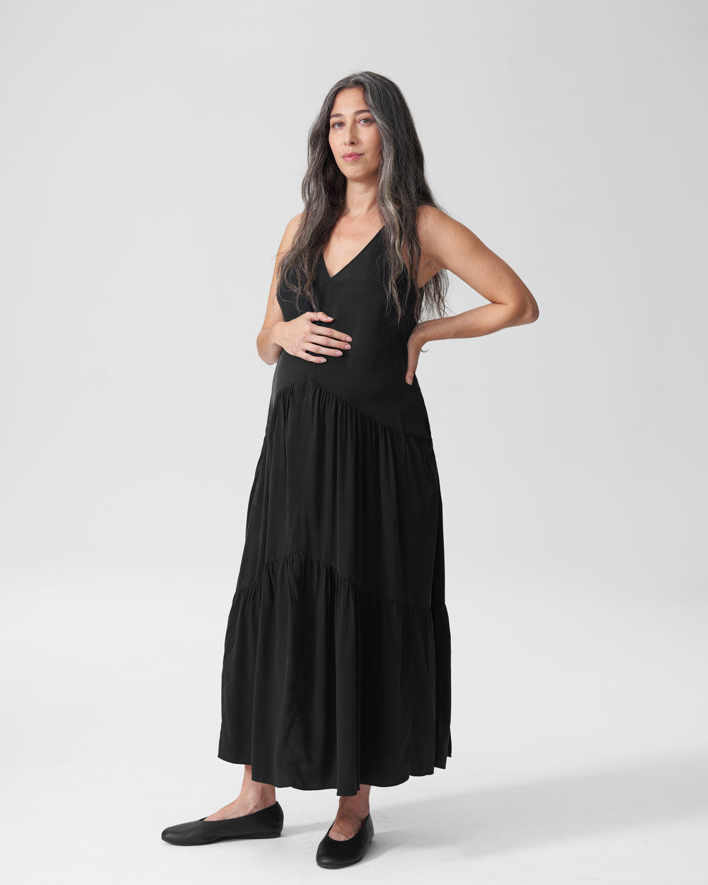 Emily Cupro Maxi Dress Mom - Black