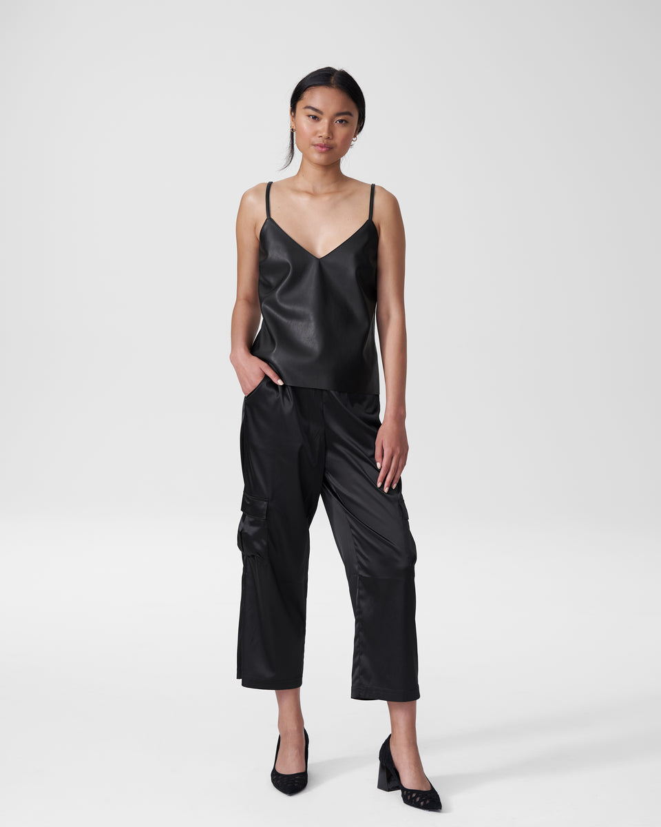 Fatima Vegan Leather Camisole - Black