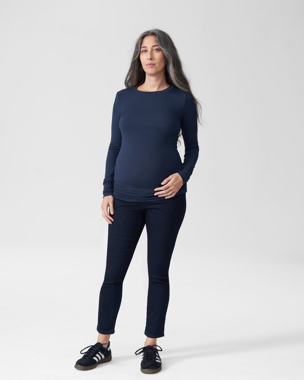 Foundation Long Sleeve Crew Neck Tee Mom - Navy
