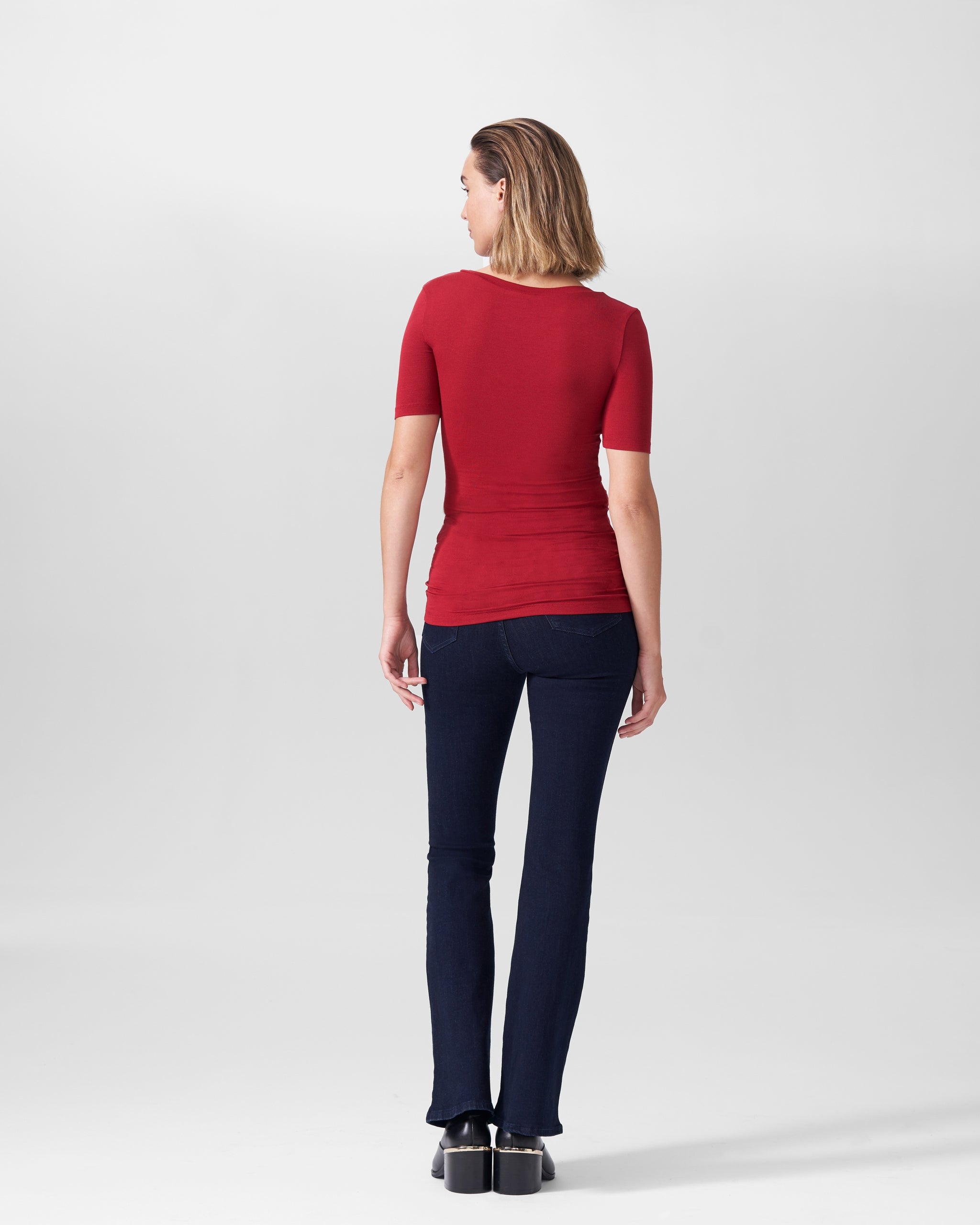 Foundation Short Sleeve V Neck Tee - Red Dahlia