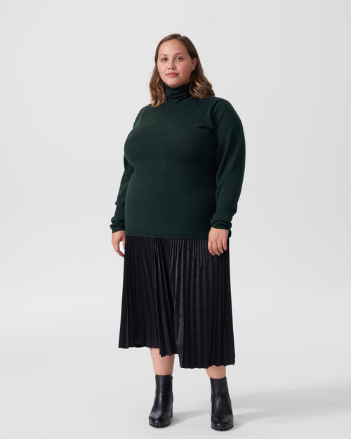 Maria Merino Wool Turtleneck - Forest Green