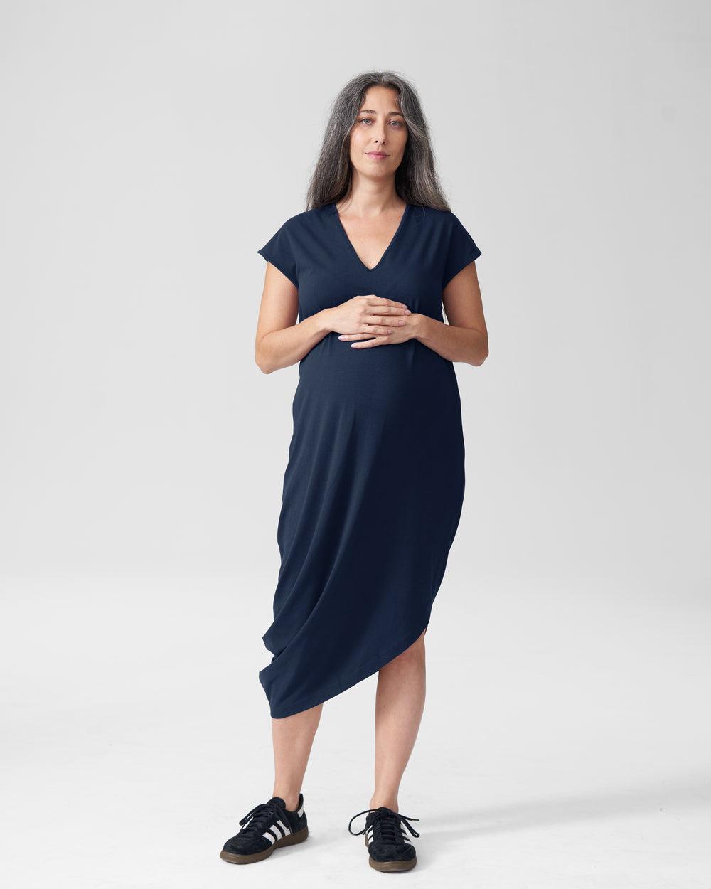 Geneva V-Neck Dress Mom - Navy