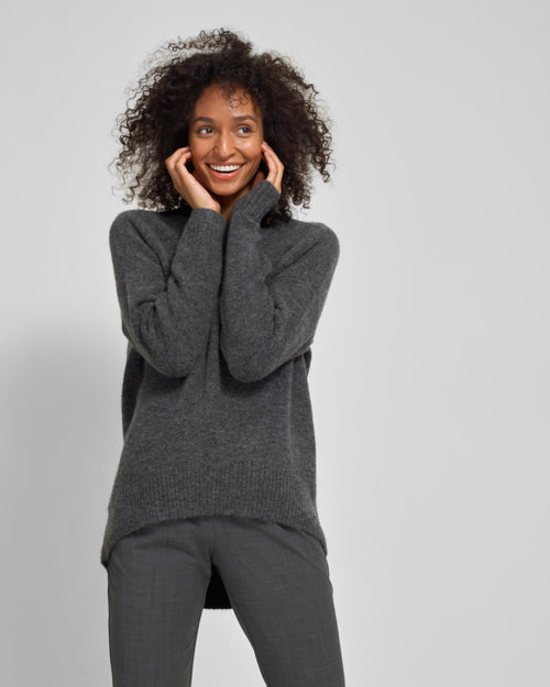 Melissa High-Low Sweater - Heather Charcoal - Final Sale