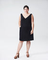 Jade V-Neck Shift Dress - Black Image Thumbnmail #1