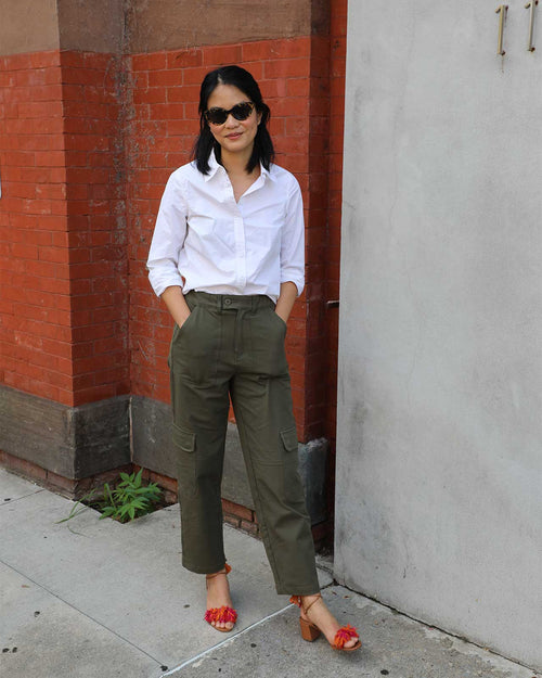 Karlee Stretch Cotton Twill Cargo Pants - Ivy