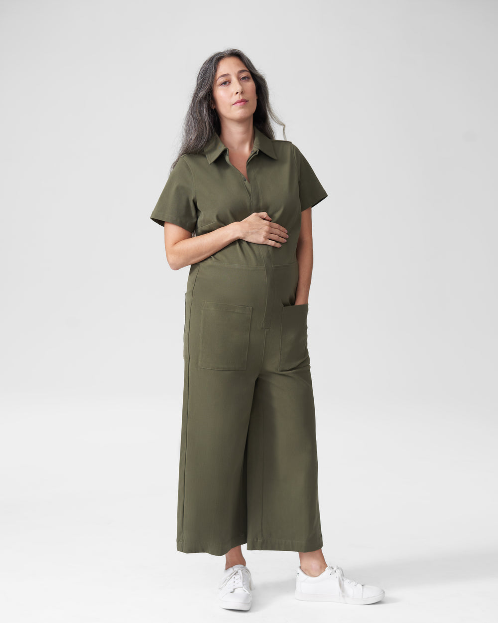 Kate Twill Jumpsuit Mom - Olive