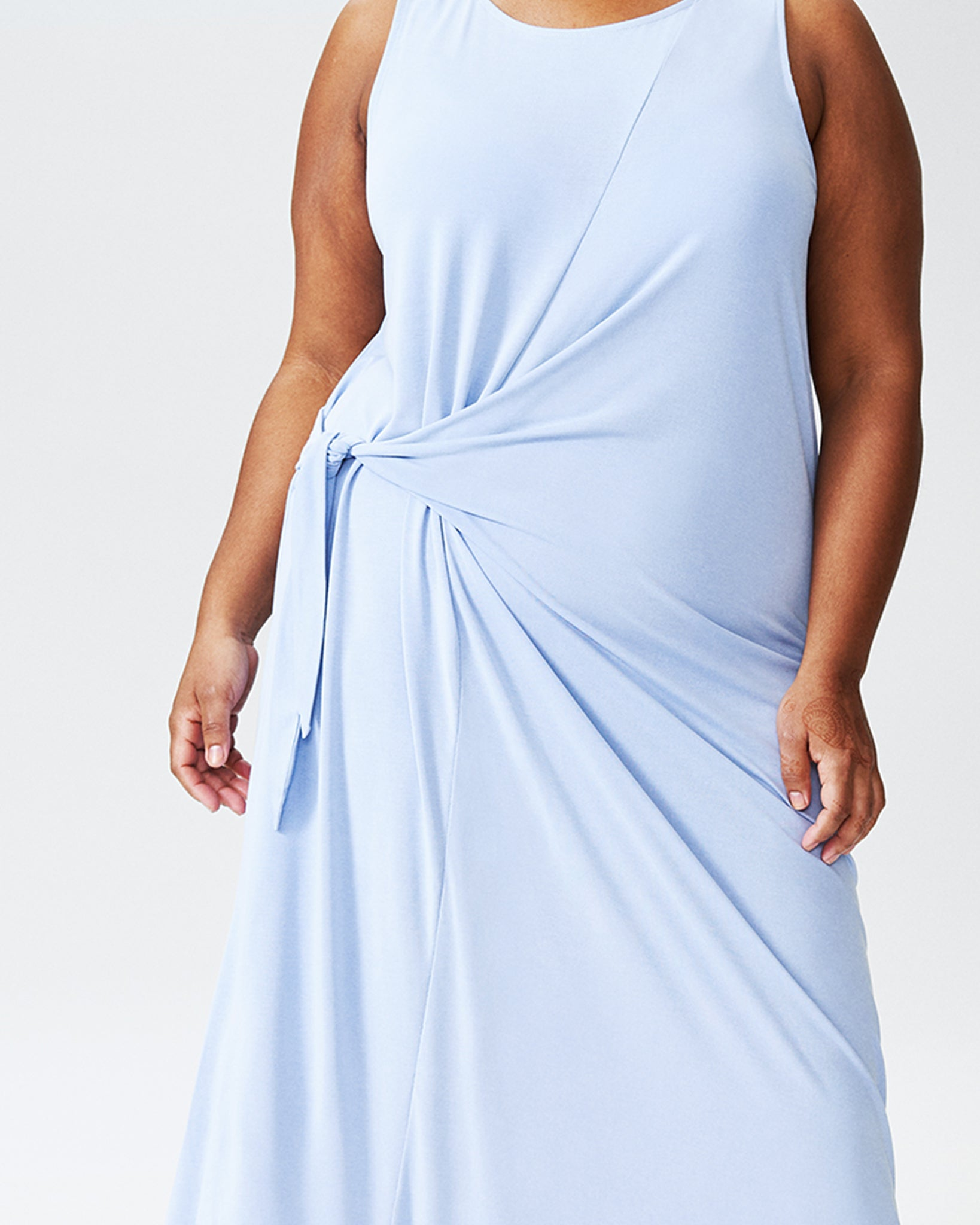 Katherine Side Tie Knot Dress - Periwinkle