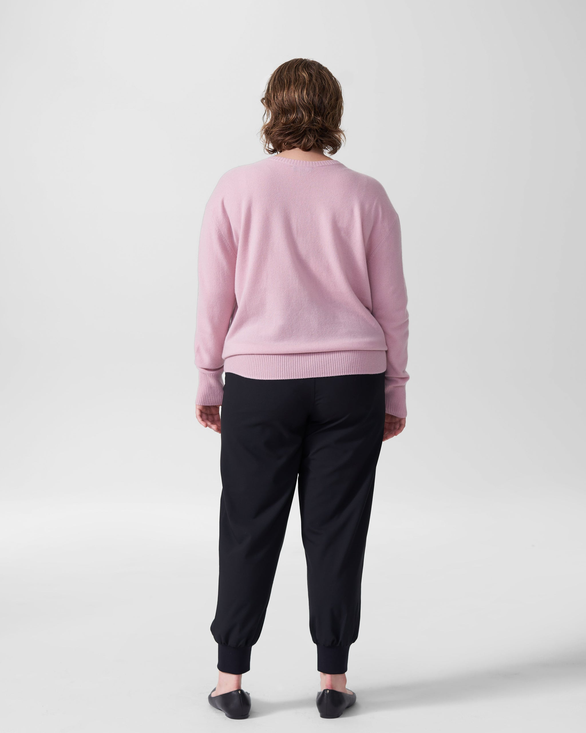 Katla V Neck Sweater - Pale Mauve