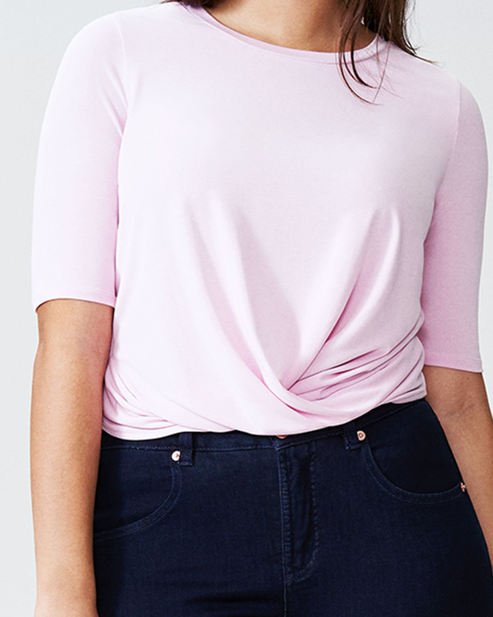 Lara Short Sleeve Twist Top - Pale Pink