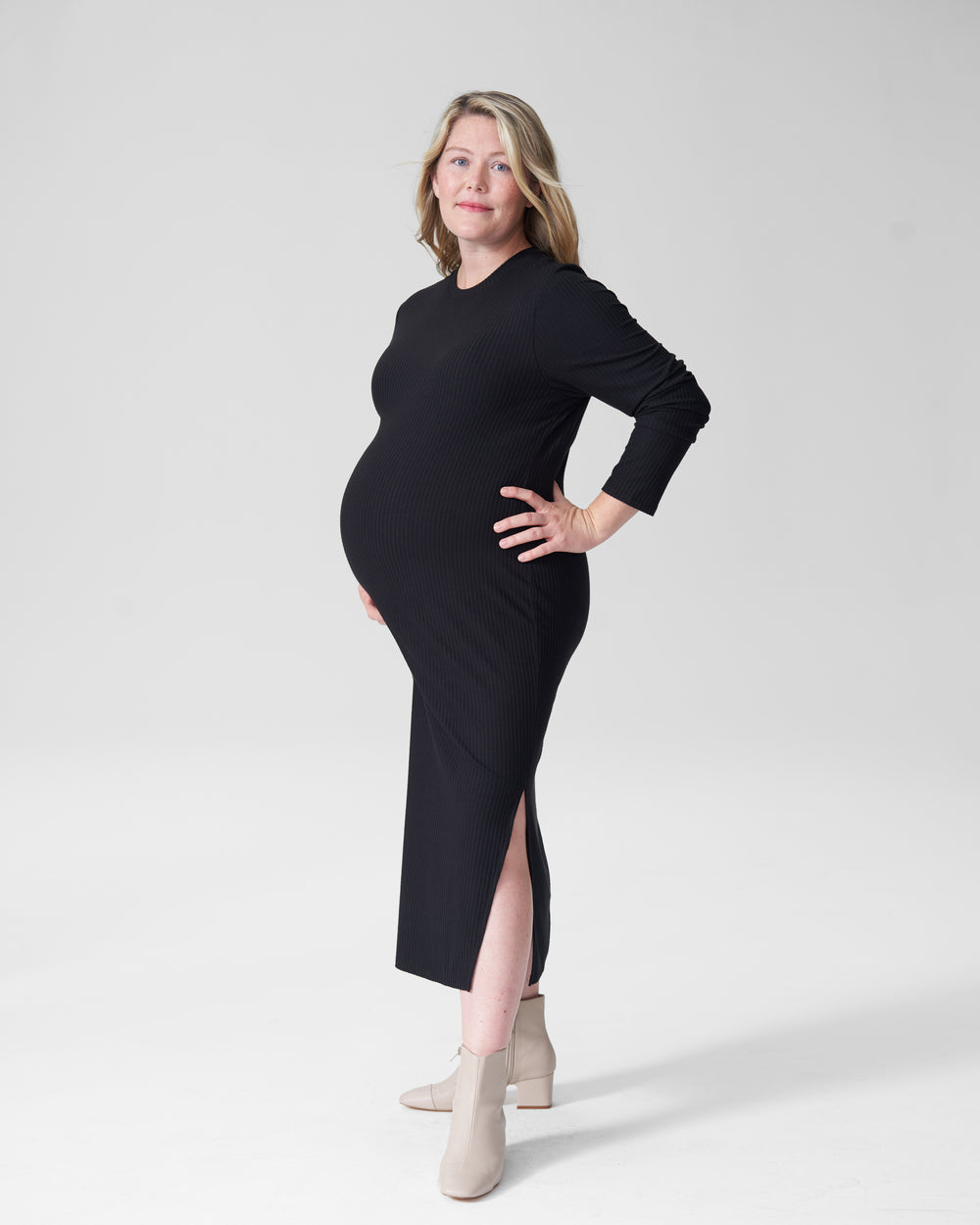 Lexi Long Sleeve Rib Maxi Dress Mom - Black