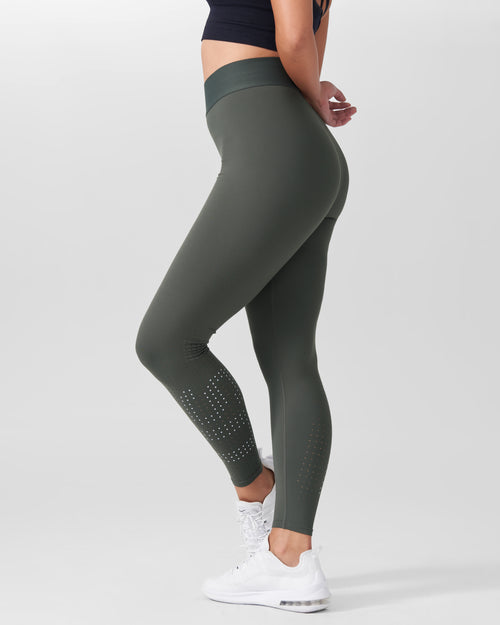 Molly Reflective Laser Cut Legging - Ivy