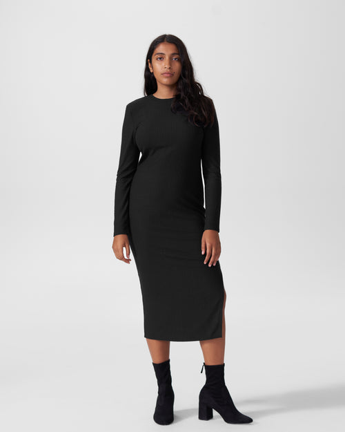 Lexi Long Sleeve Rib Maxi Dress - Black