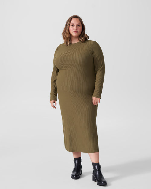 Lexi Long Sleeve Rib Maxi Dress - Olive