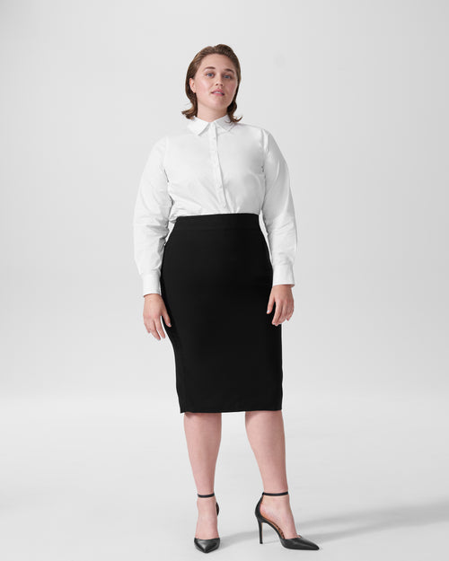 Lynn Luxe Twill Pencil Skirt - Black