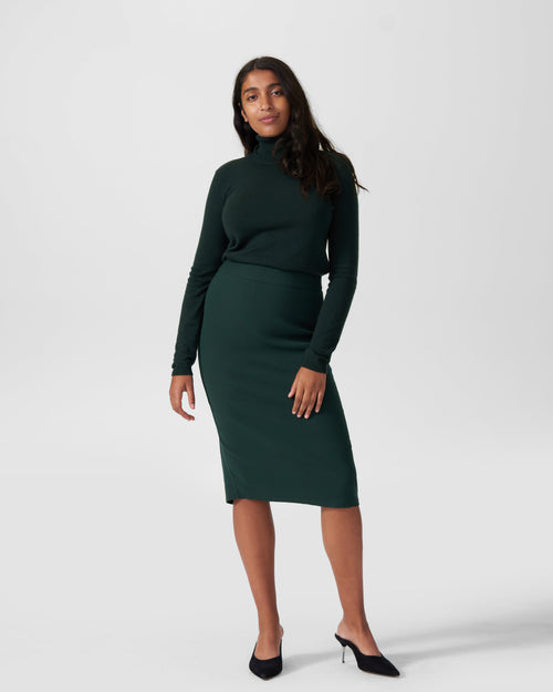 Lynn Luxe Twill Pencil Skirt - Forest Green