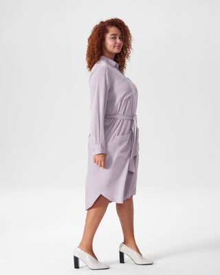 Michelle Cupro Shirt Dress - Orchid