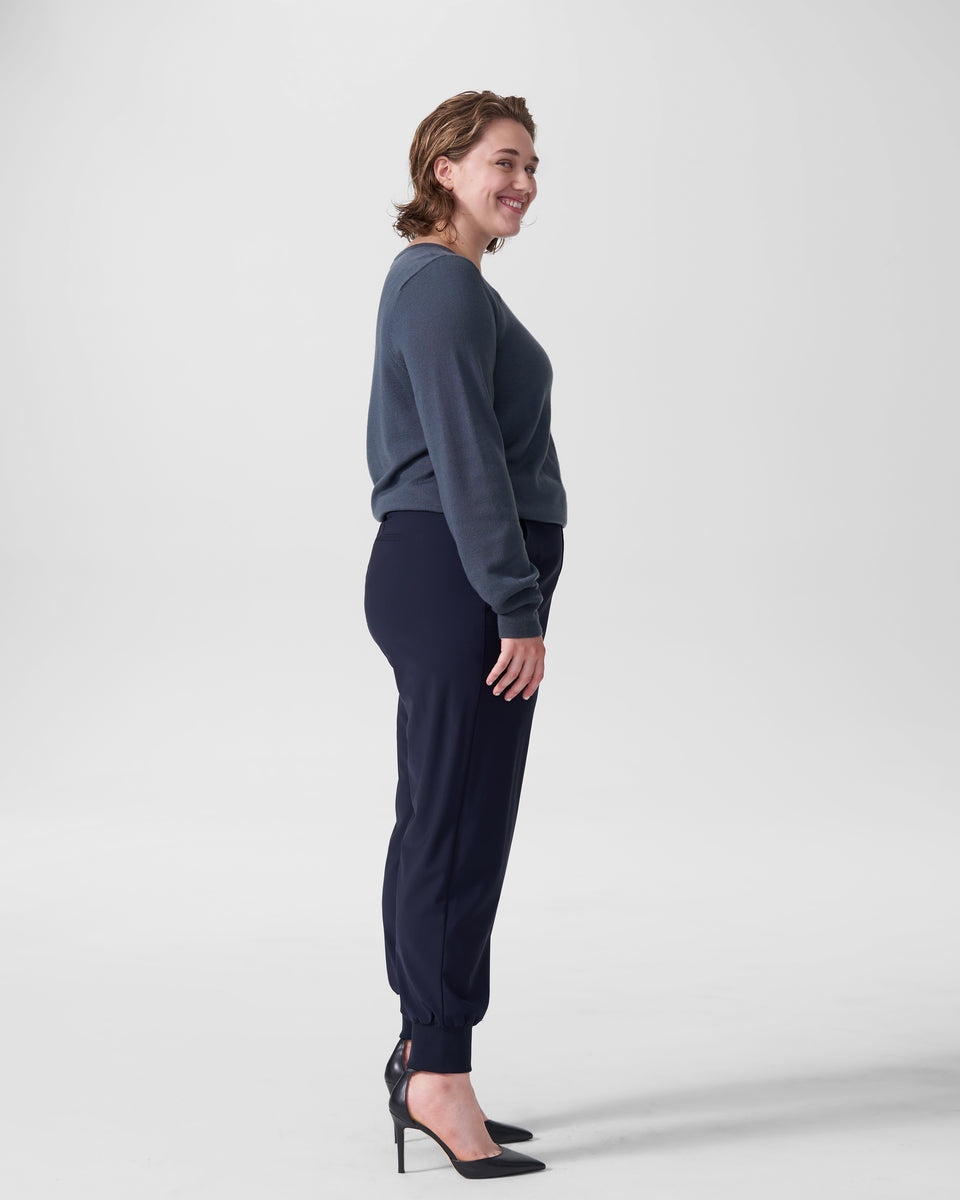 Minton Wool Suiting Jogger - Navy