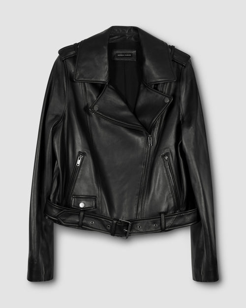 Leeron Leather Moto Jacket - Black