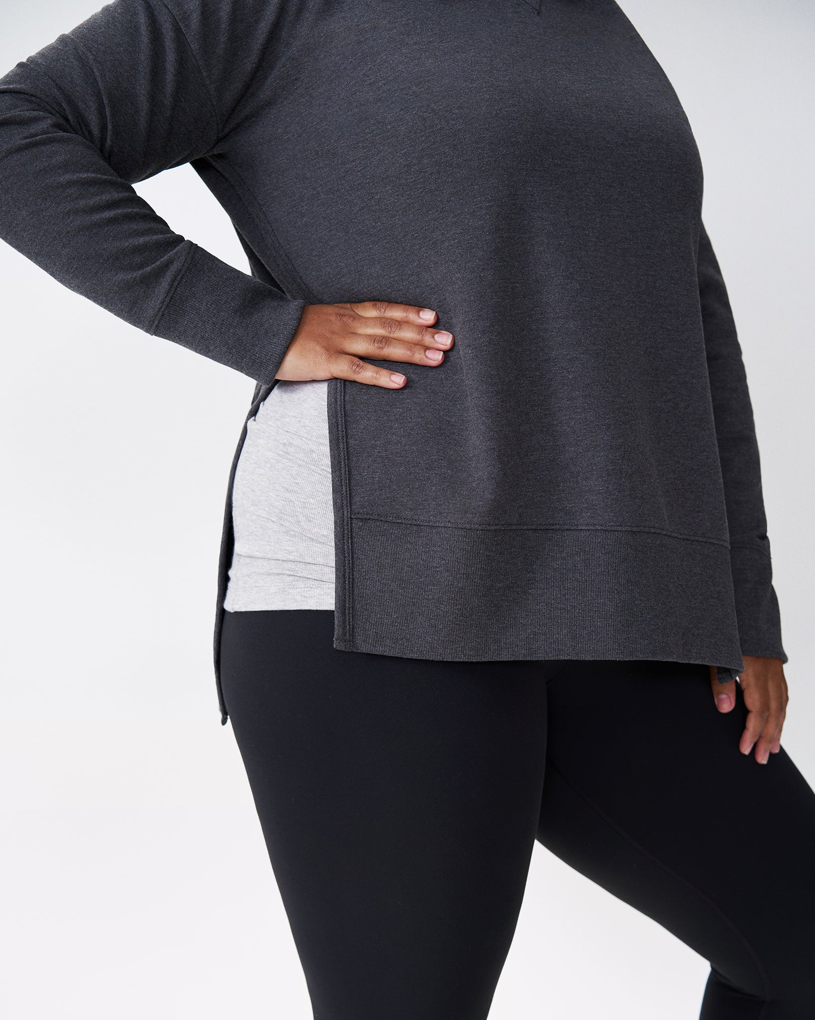 Fiona Open Side Sweatshirt - Charcoal