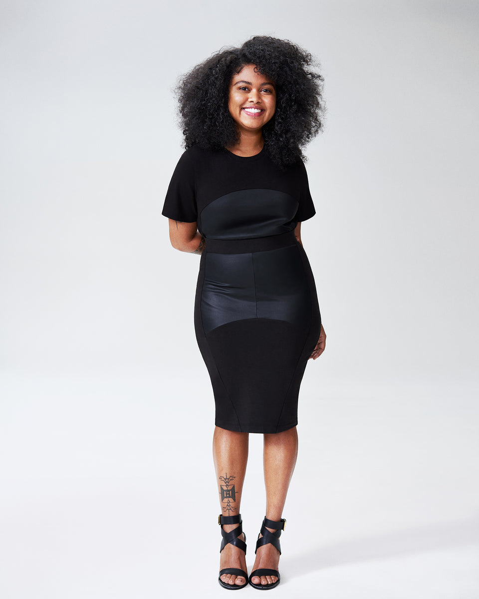 Petite Carver Panel Skirt - Black