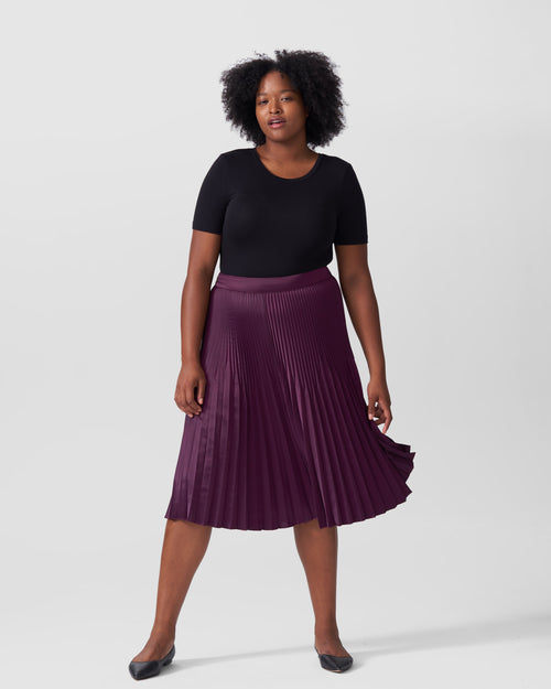 Kniko Pleated Midi Skirt - Eggplant