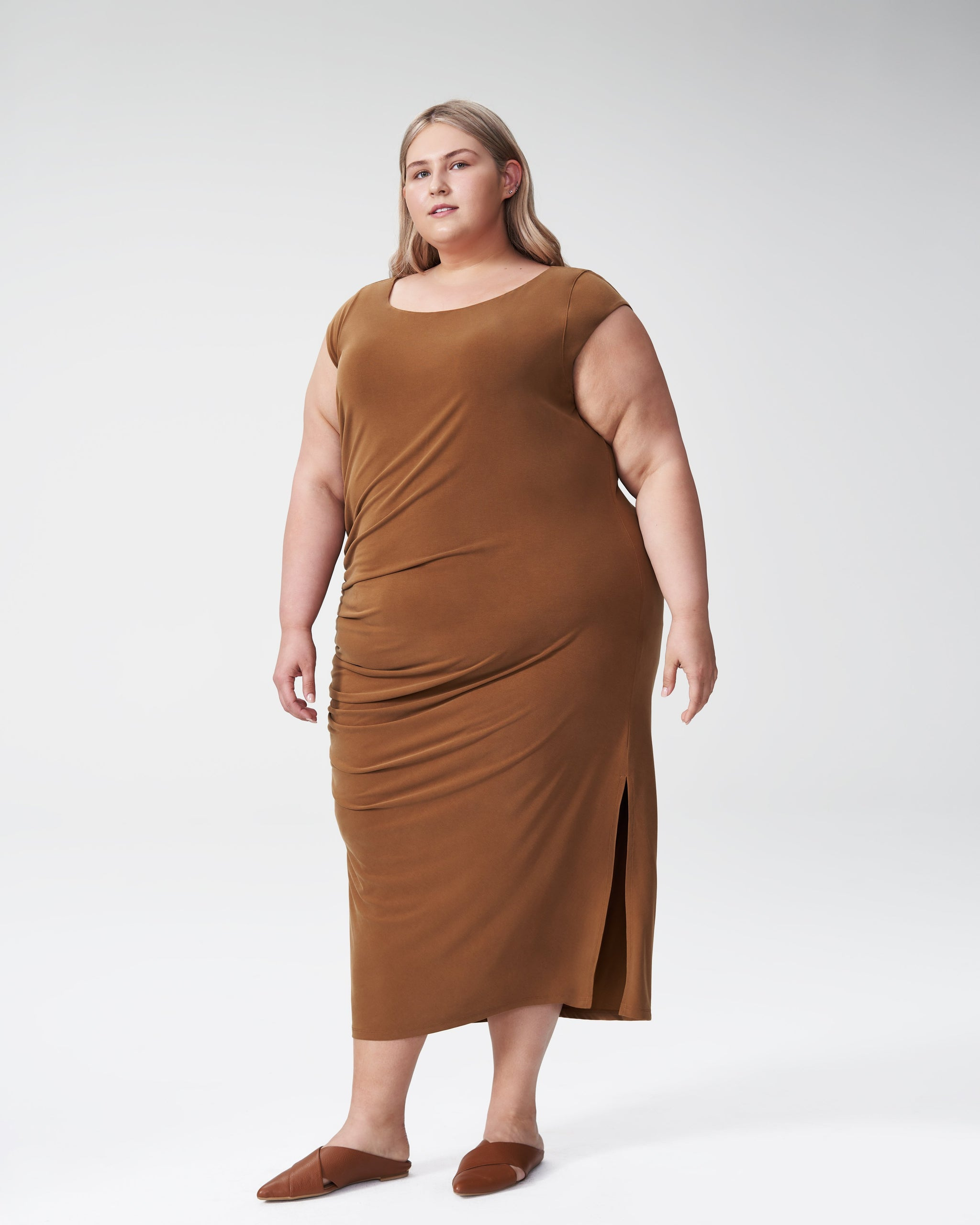 Rachel Ruched Dress - Caramel