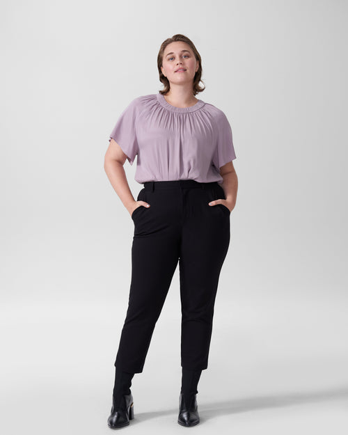 Alex Short Sleeve Shirred Top - Orchid