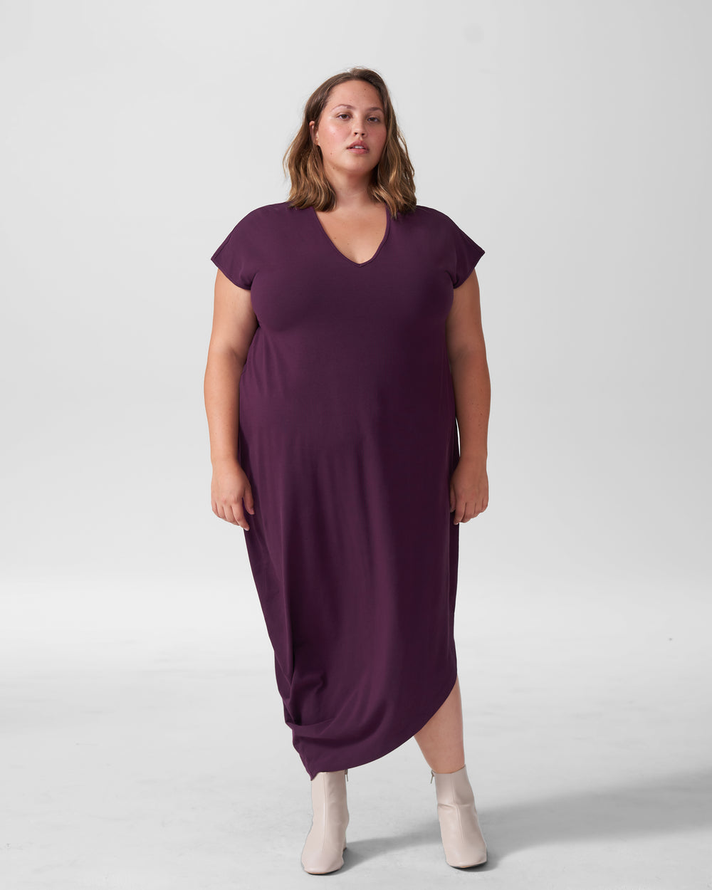 Geneva V-Neck Dress - Eggplant
