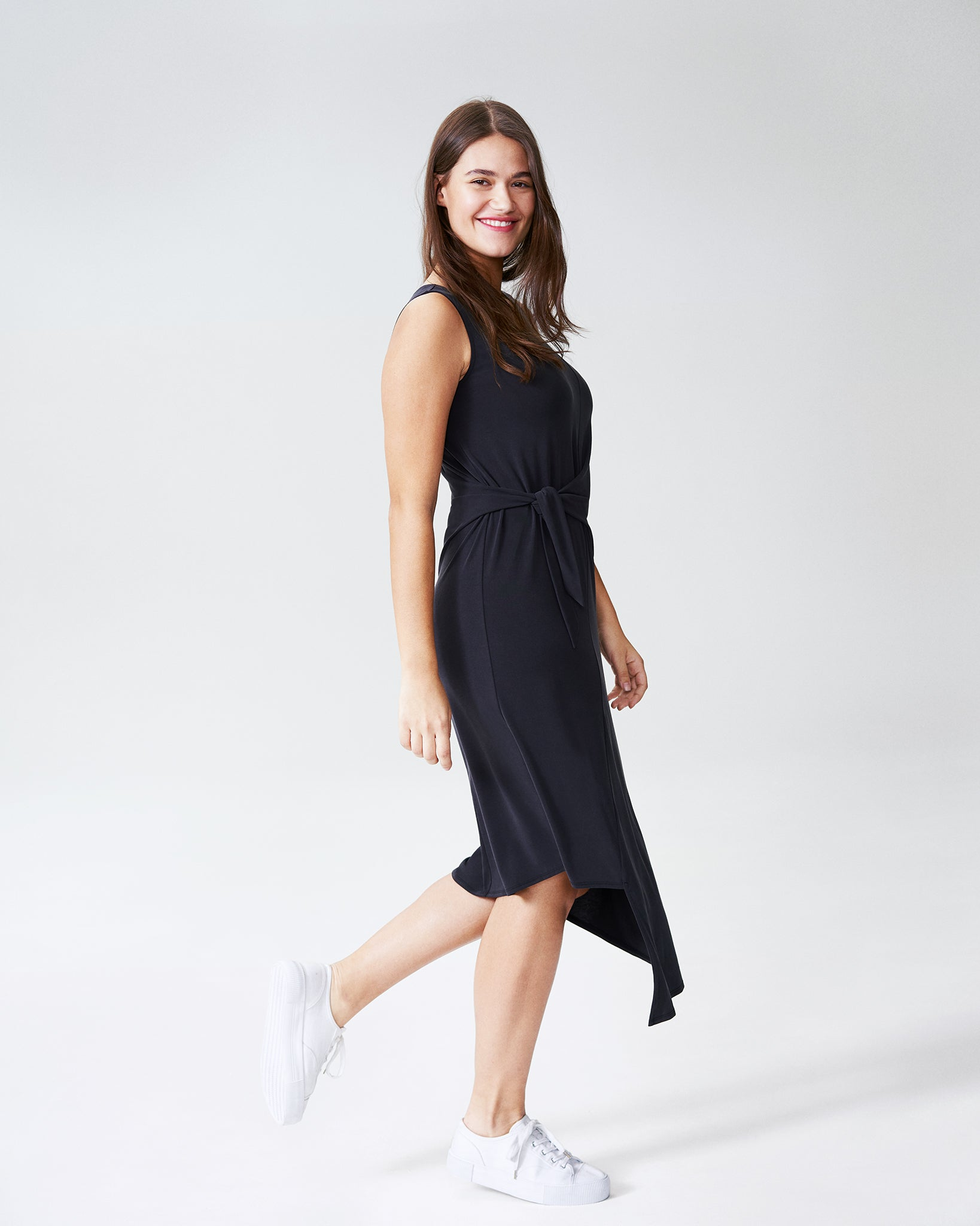 Katherine Side Tie Knot Dress - Black