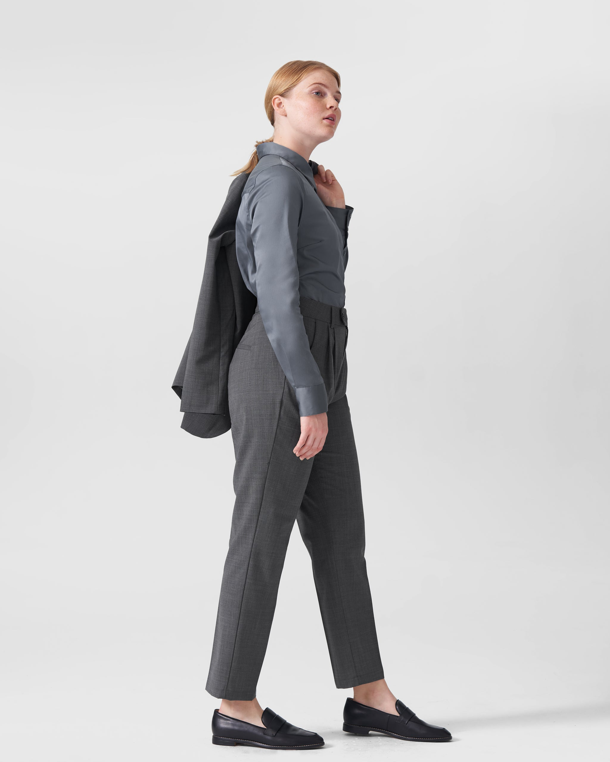 Silvia Slim Cut Wool Trousers 29 inch - Slate