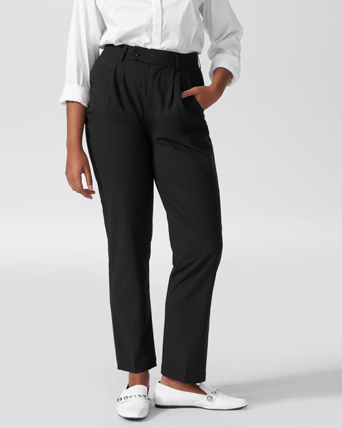 Silvia Slim Cut Wool Trousers 29 inch - Black