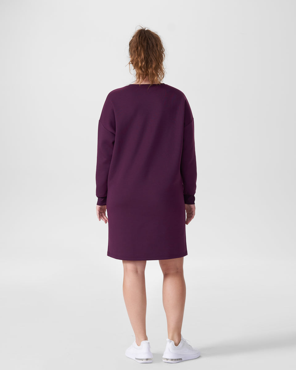 Amanda Spacer Sweatshirt Dress - Eggplant