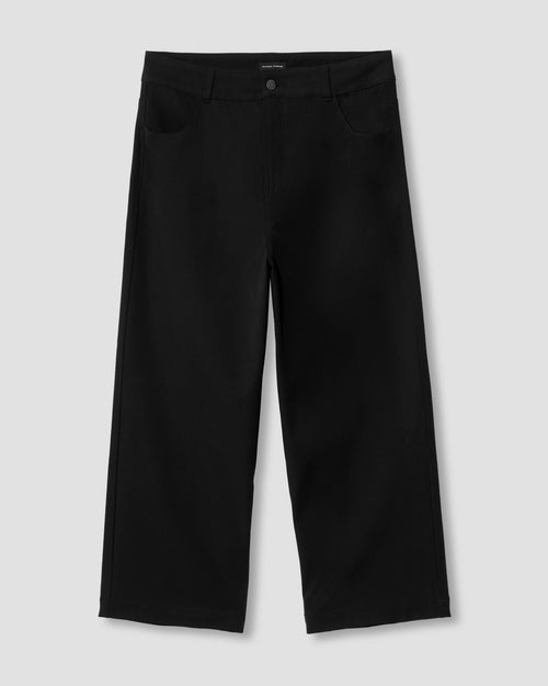 Faye Stretch Cotton Twill Boyfriend Crop Pants - Black