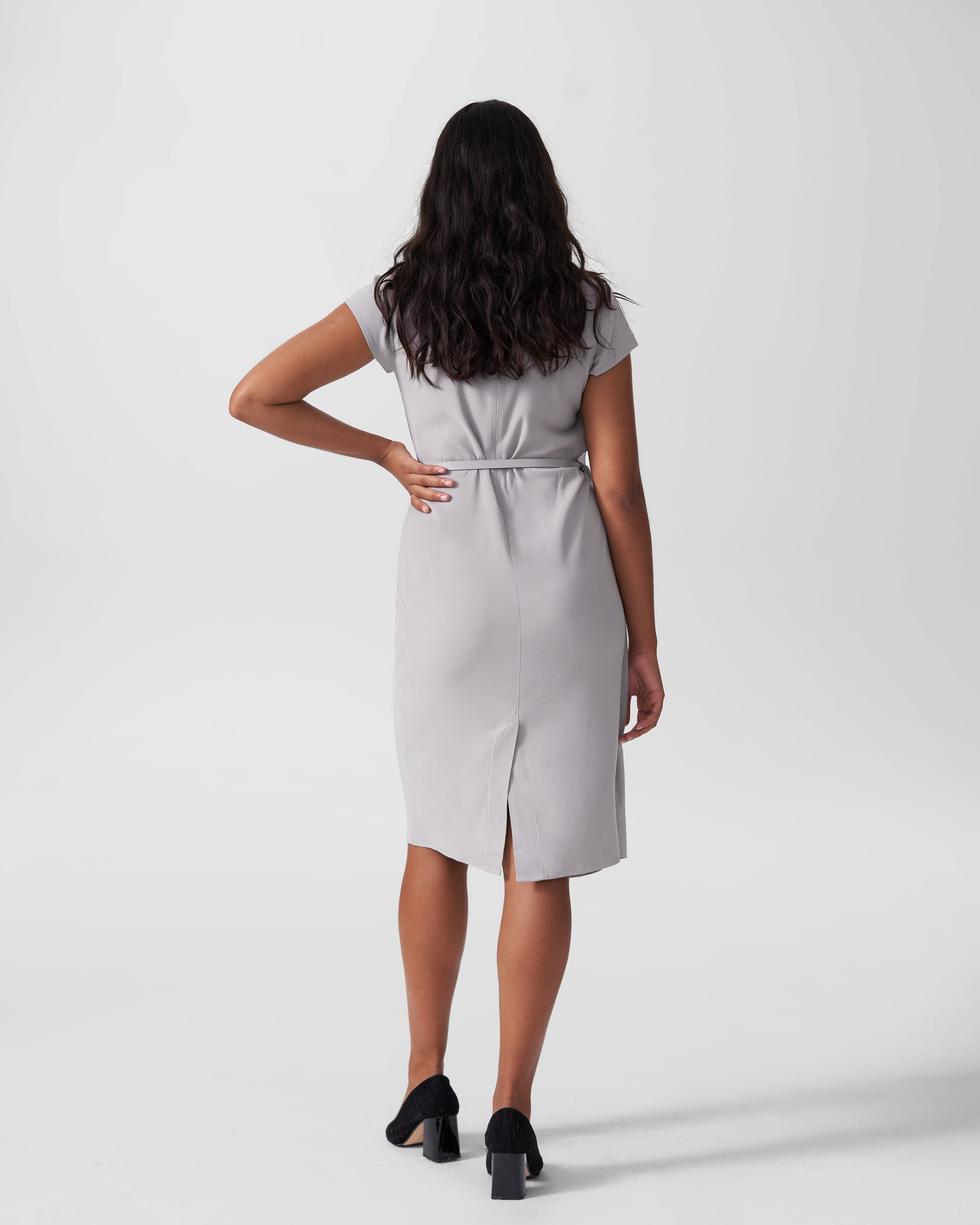Polina Boardroom Dress - Grey