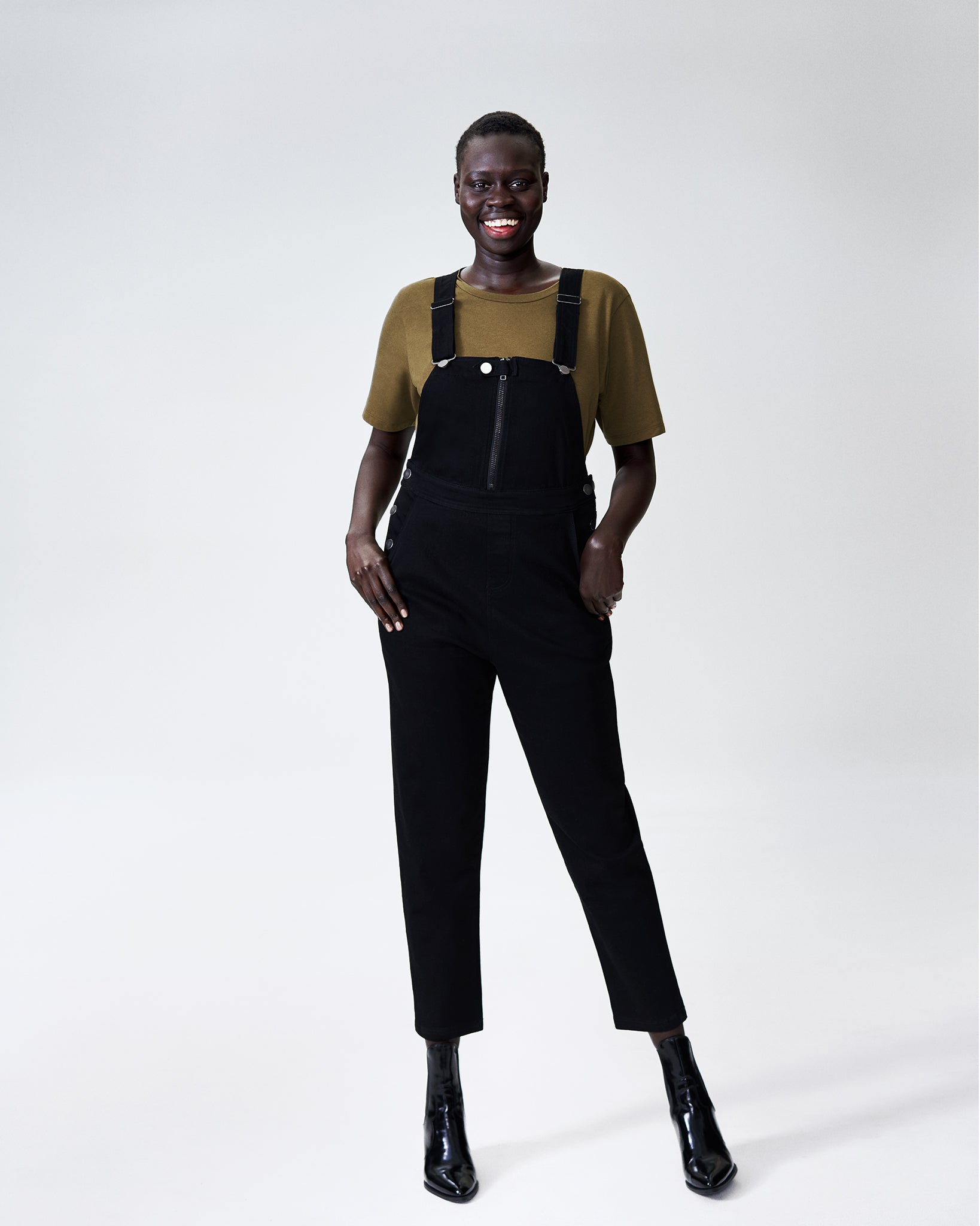 Olivia Denim Overalls - Black