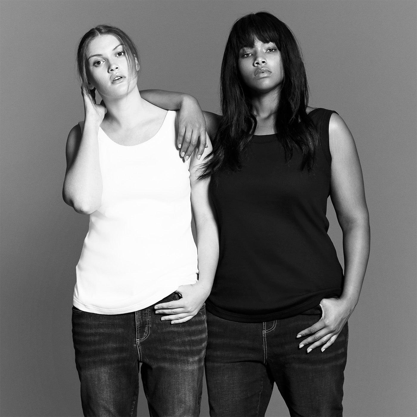 Two plus size models in modern clothing - new york - universal standard