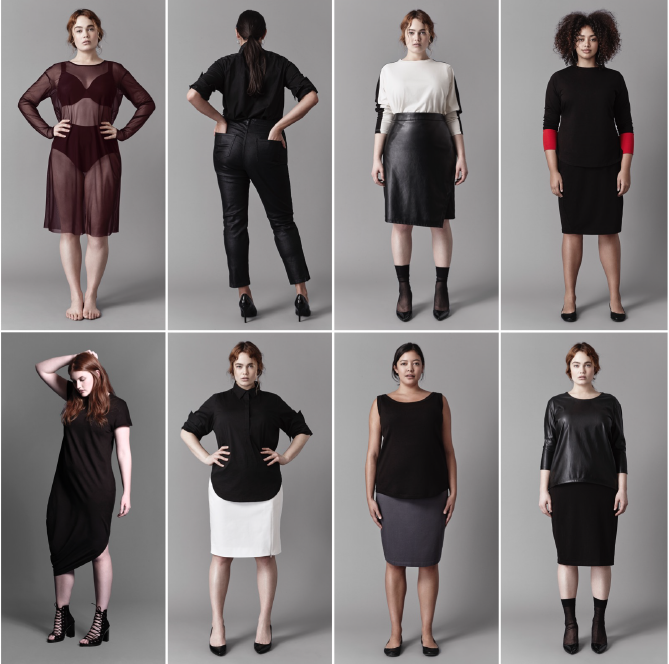 8 plus size models in modern skirts, jeans, and shirts - Universal Standard New York