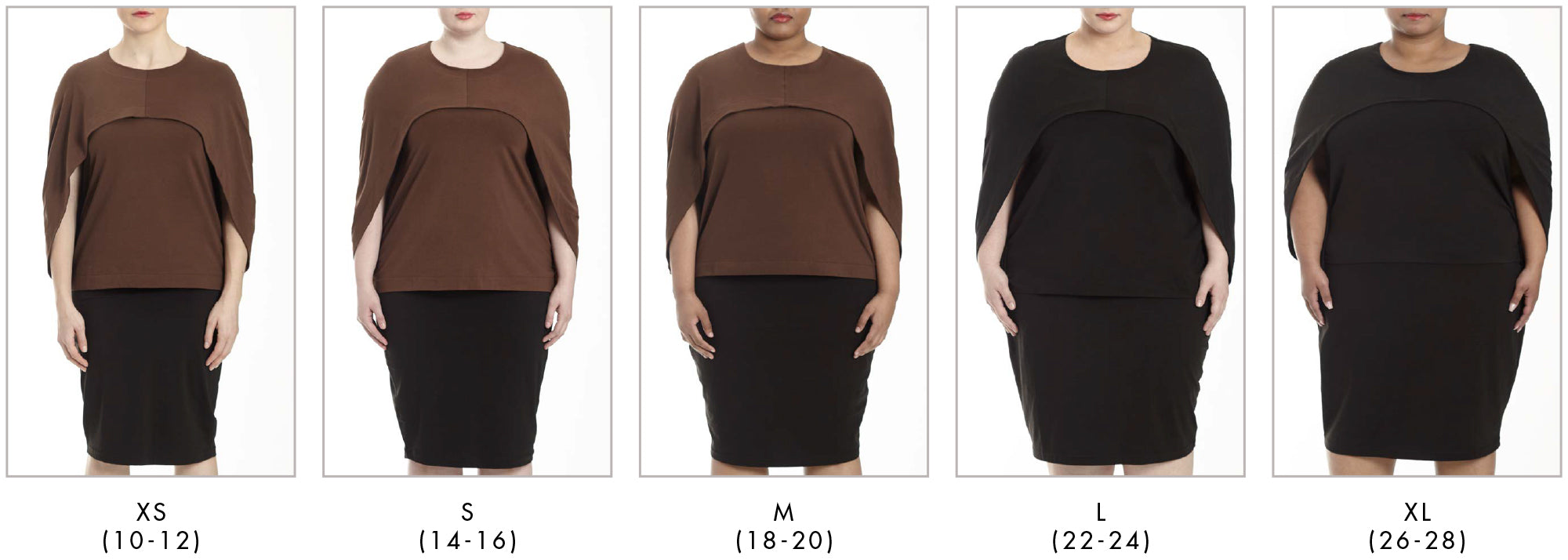 In all our plus sizes for Volga Jersey Capelette - Brown in Universal Standard