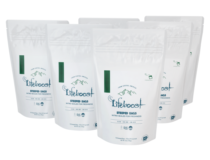 6x Medium roast Lifeboost Go Bags -10 bags
