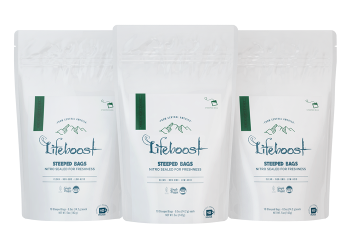 3x Dark roast Lifeboost Go Bags -(10 bags in each)