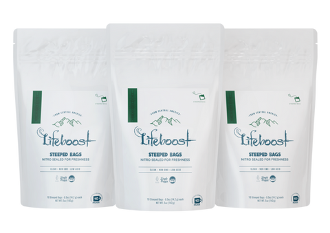 3x Medium roast Lifeboost Go Bags -(10 bags in each)